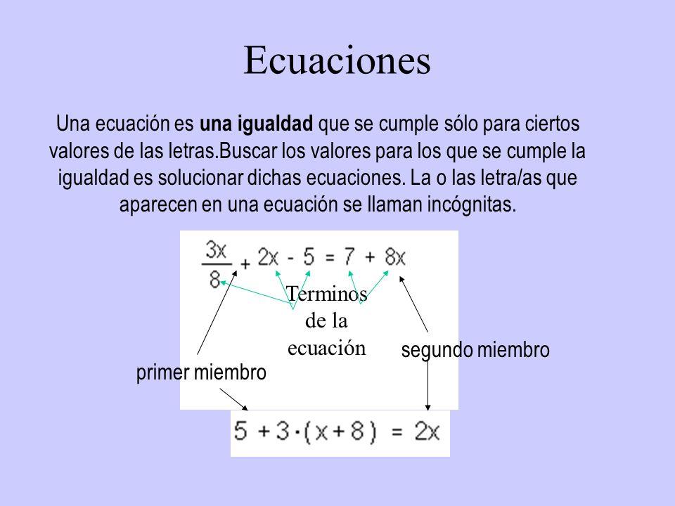 Ecuaciones segundo miembro primer miembro Una ecuación es una igualdad que se cumple sólo para ciertos valores de las letras.Buscar los valores para l