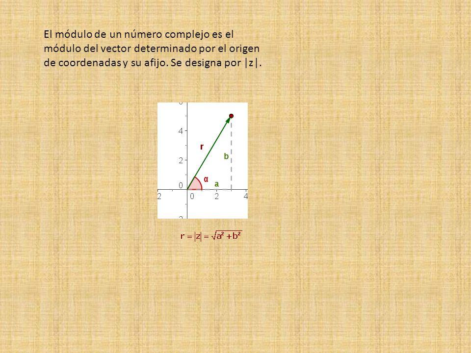 El módulo de un número complejo es el módulo del vector determinado por el origen de coordenadas y su afijo. Se designa por |z|.