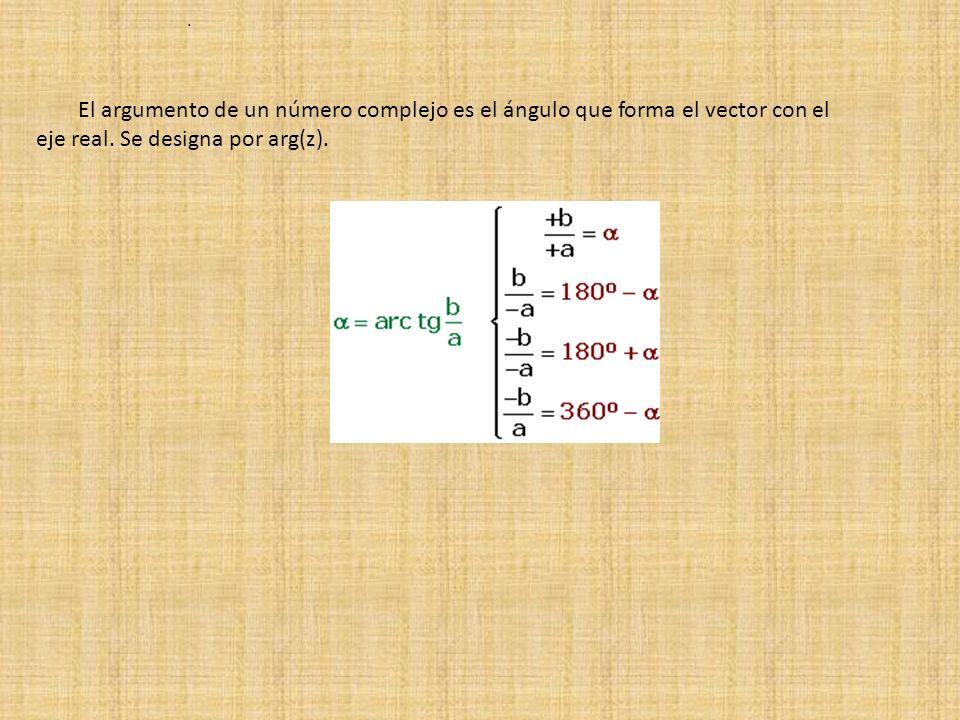 El argumento de un número complejo es el ángulo que forma el vector con el eje real. Se designa por arg(z)..