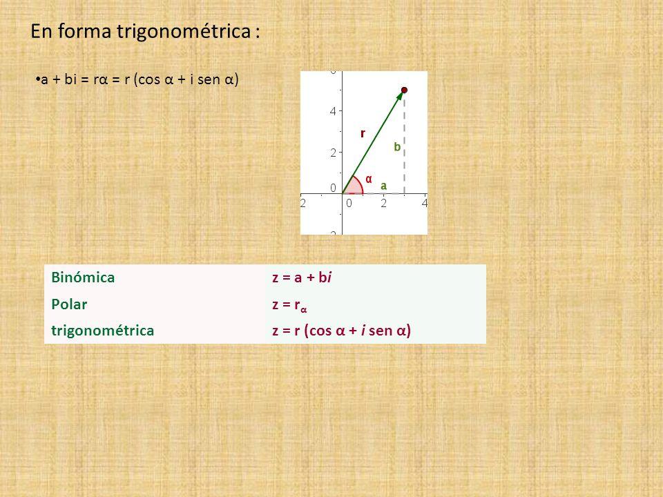 a + bi = rα = r (cos α + i sen α) En forma trigonométrica : Binómicaz = a + bi Polarz = r α trigonométricaz = r (cos α + i sen α)