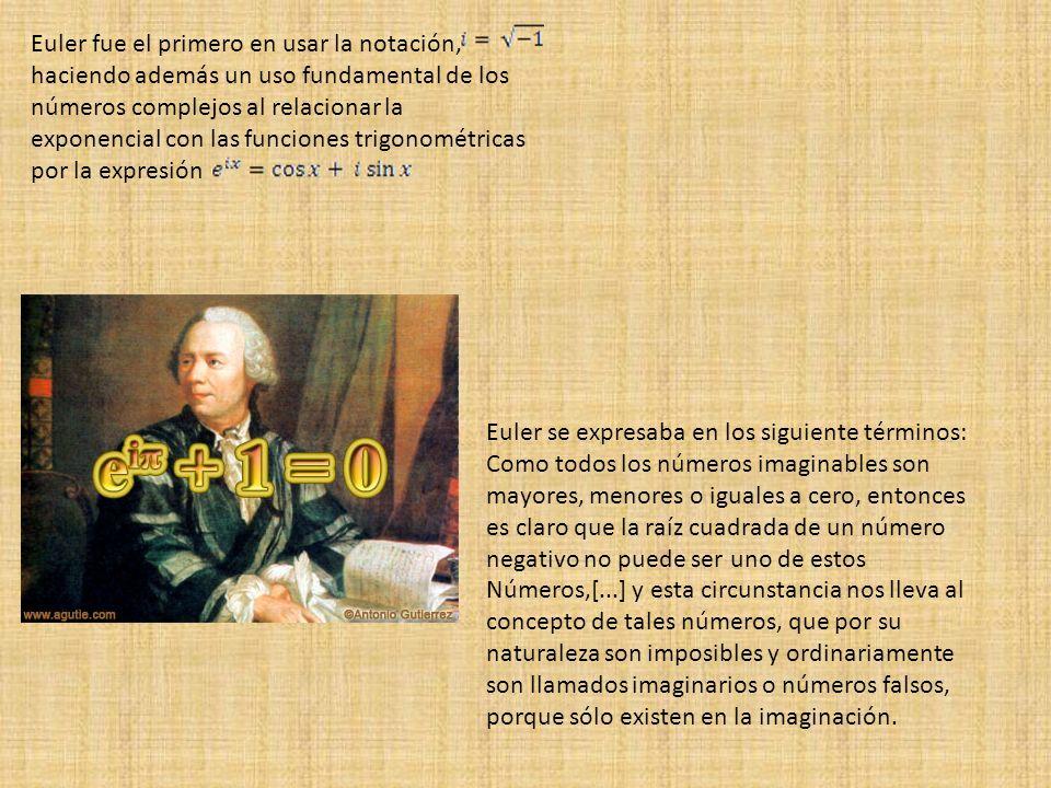 Euler fue el primero en usar la notación, haciendo además un uso fundamental de los números complejos al relacionar la exponencial con las funciones t