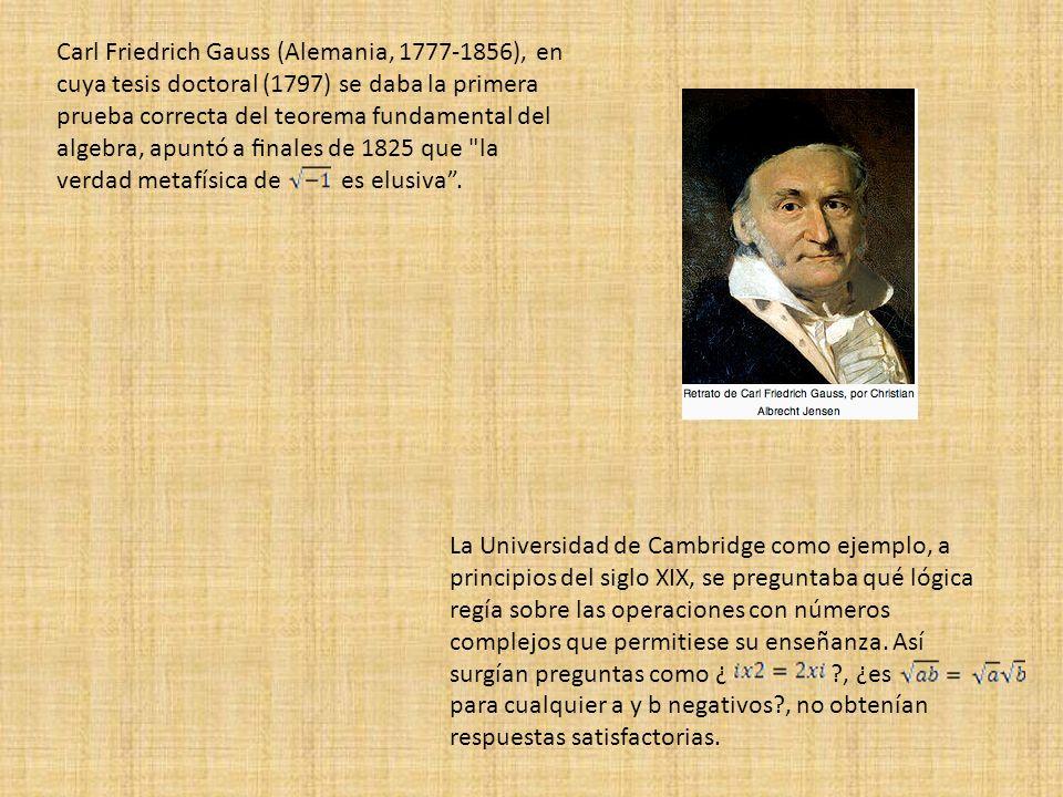 Carl Friedrich Gauss (Alemania, 1777-1856), en cuya tesis doctoral (1797) se daba la primera prueba correcta del teorema fundamental del algebra, apun
