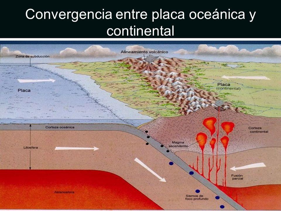 Convergencia entre placa oceánica y continental