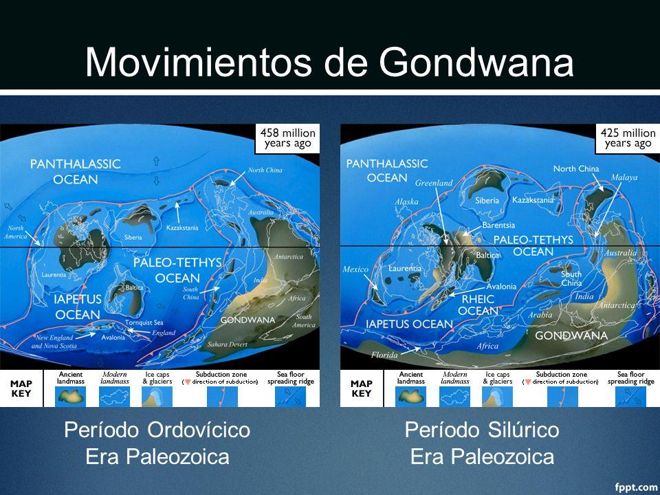 Movimientos de Gondwana Período Ordovícico Era Paleozoica Período Silúrico Era Paleozoica