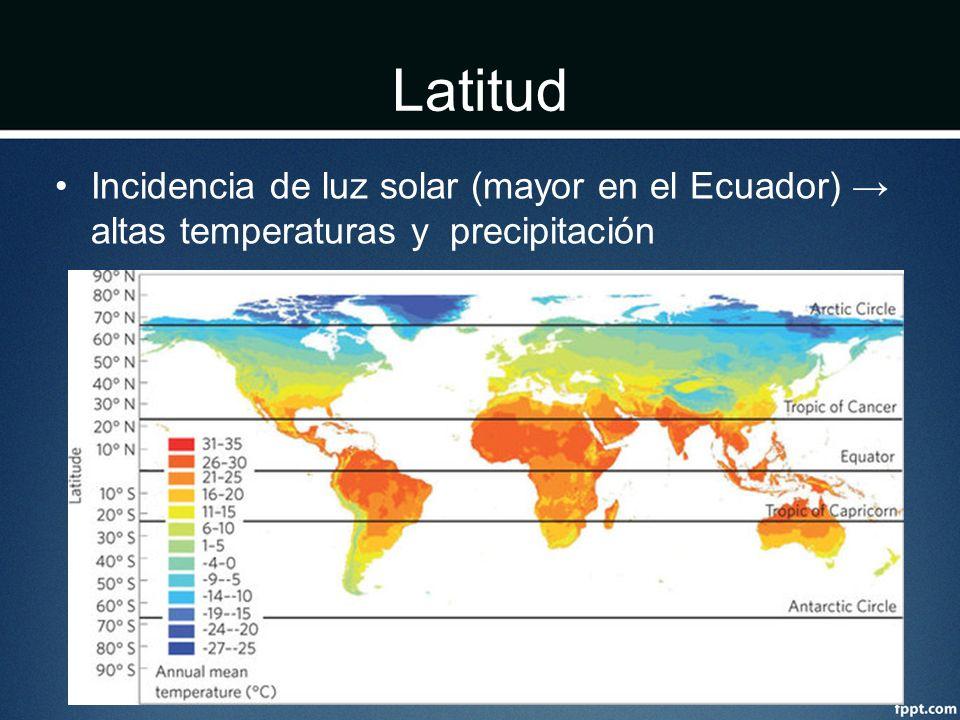 Latitud Incidencia de luz solar (mayor en el Ecuador) altas temperaturas y precipitación
