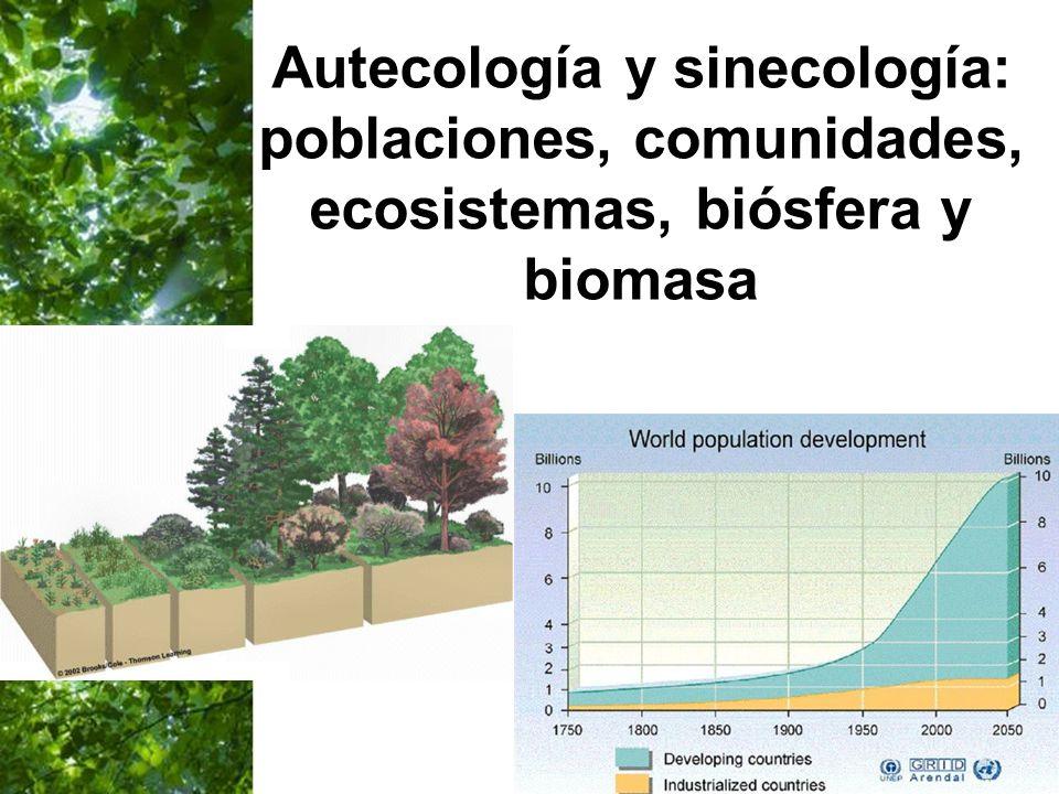 Page 26 Autecología y sinecología: poblaciones, comunidades, ecosistemas, biósfera y biomasa