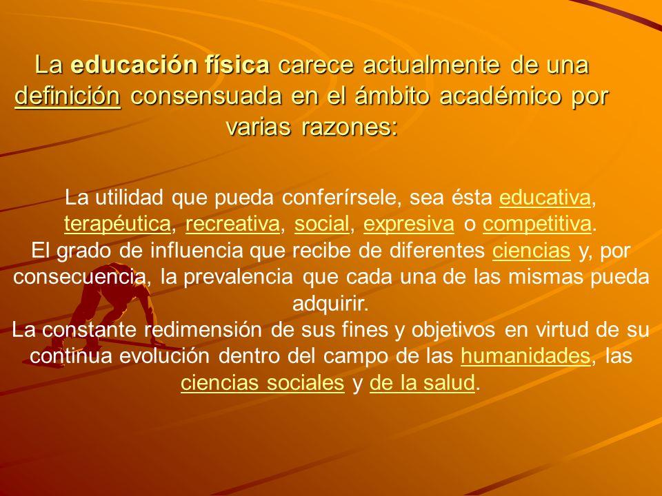 La educación física carece actualmente de una definición consensuada en el ámbito académico por varias razones: definición La utilidad que pueda confe