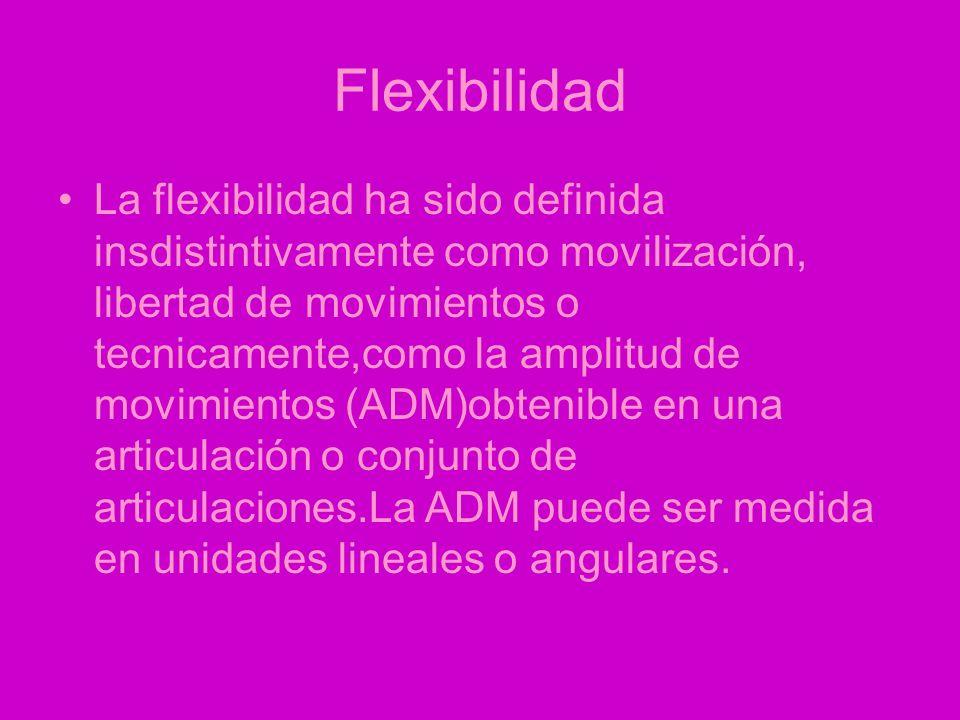 Flexibilidad La flexibilidad ha sido definida insdistintivamente como movilización, libertad de movimientos o tecnicamente,como la amplitud de movimientos (ADM)obtenible en una articulación o conjunto de articulaciones.La ADM puede ser medida en unidades lineales o angulares.