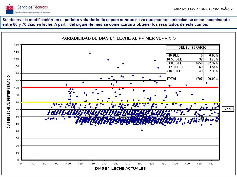 MVZ MC LUIS ALONSO RUIZ JUÁREZ En las semanas correspondientes a los meses más frescos se comenzó a incrementar el número de preñeces y aunque en las últimas semanas han disminuido el promedio alcanzó el requerimiento.