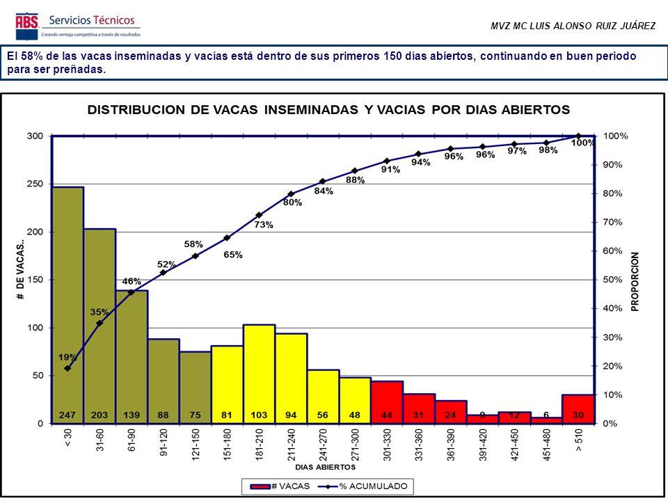 MVZ MC LUIS ALONSO RUIZ JUÁREZ El 58% de las vacas inseminadas y vacías está dentro de sus primeros 150 días abiertos, continuando en buen periodo para ser preñadas.