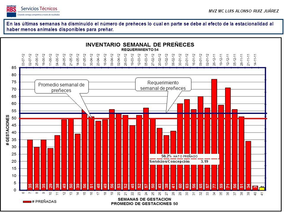MVZ MC LUIS ALONSO RUIZ JUÁREZ En las últimas semanas ha disminuido el número de preñeces lo cual en parte se debe al efecto de la estacionalidad al haber menos animales disponibles para preñar.