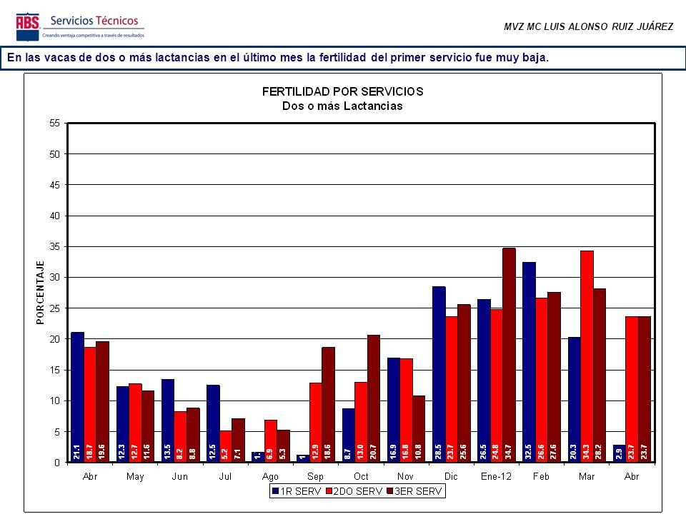 En las vacas de dos o más lactancias en el último mes la fertilidad del primer servicio fue muy baja.