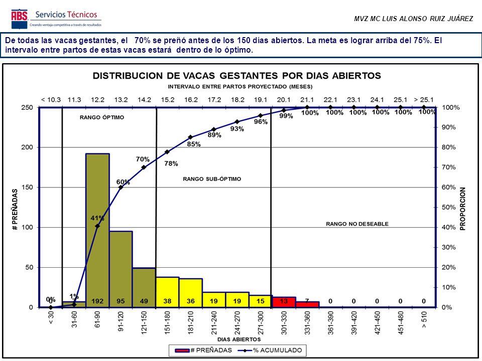 MVZ MC LUIS ALONSO RUIZ JUÁREZ De todas las vacas gestantes, el 70% se preñó antes de los 150 días abiertos.