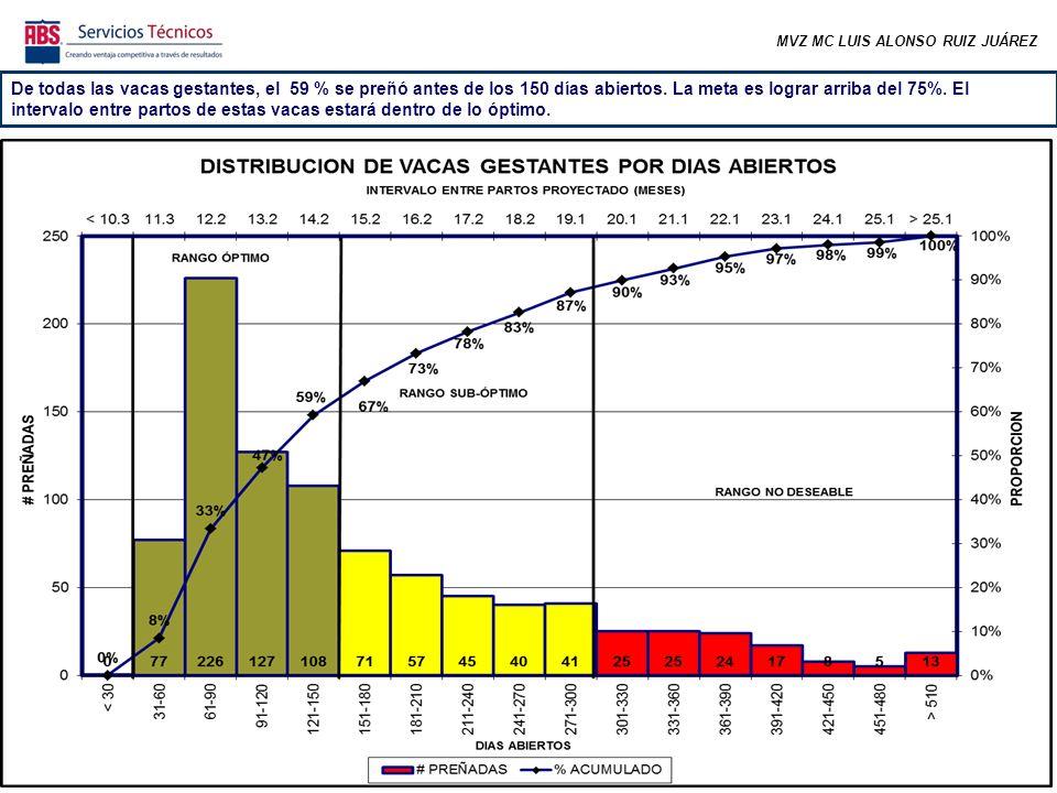 MVZ MC LUIS ALONSO RUIZ JUÁREZ De todas las vacas gestantes, el 59 % se preñó antes de los 150 días abiertos.
