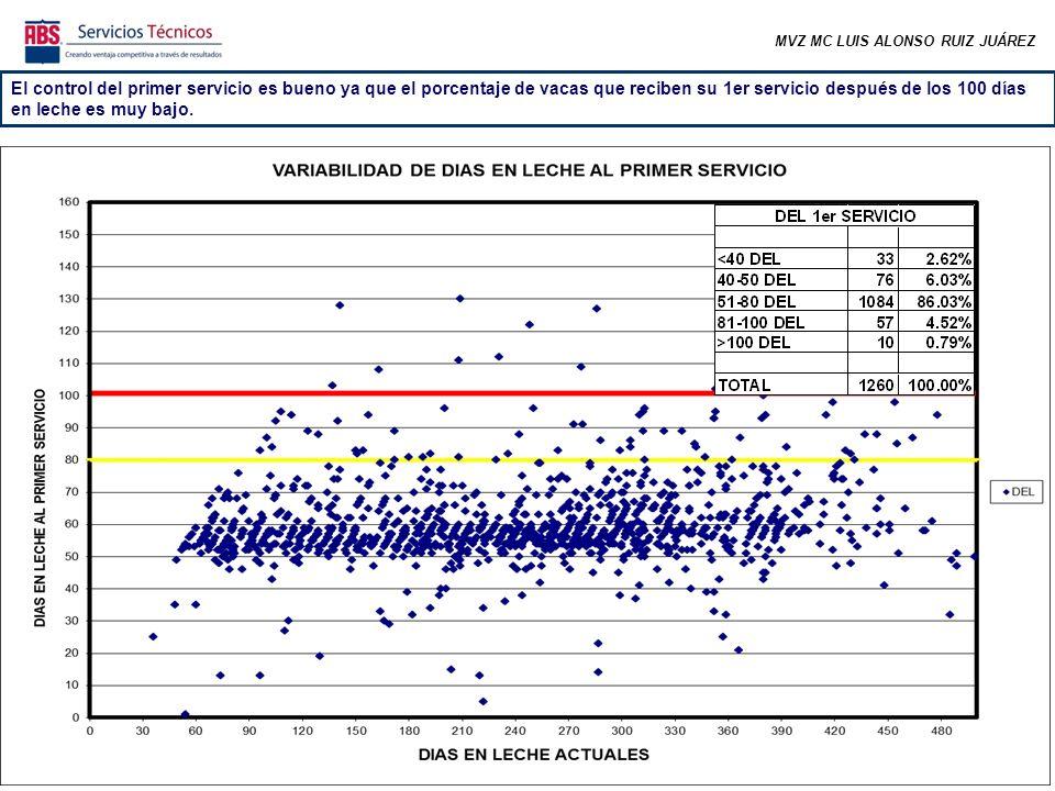 MVZ MC LUIS ALONSO RUIZ JUÁREZ El control del primer servicio es bueno ya que el porcentaje de vacas que reciben su 1er servicio después de los 100 días en leche es muy bajo.