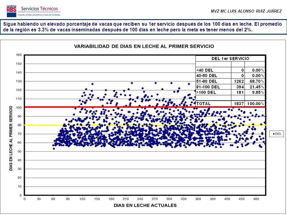 MVZ MC LUIS ALONSO RUIZ JUÁREZ Sigue habiendo un elevado porcentaje de vacas que reciben su 1er servicio después de los 100 días en leche.