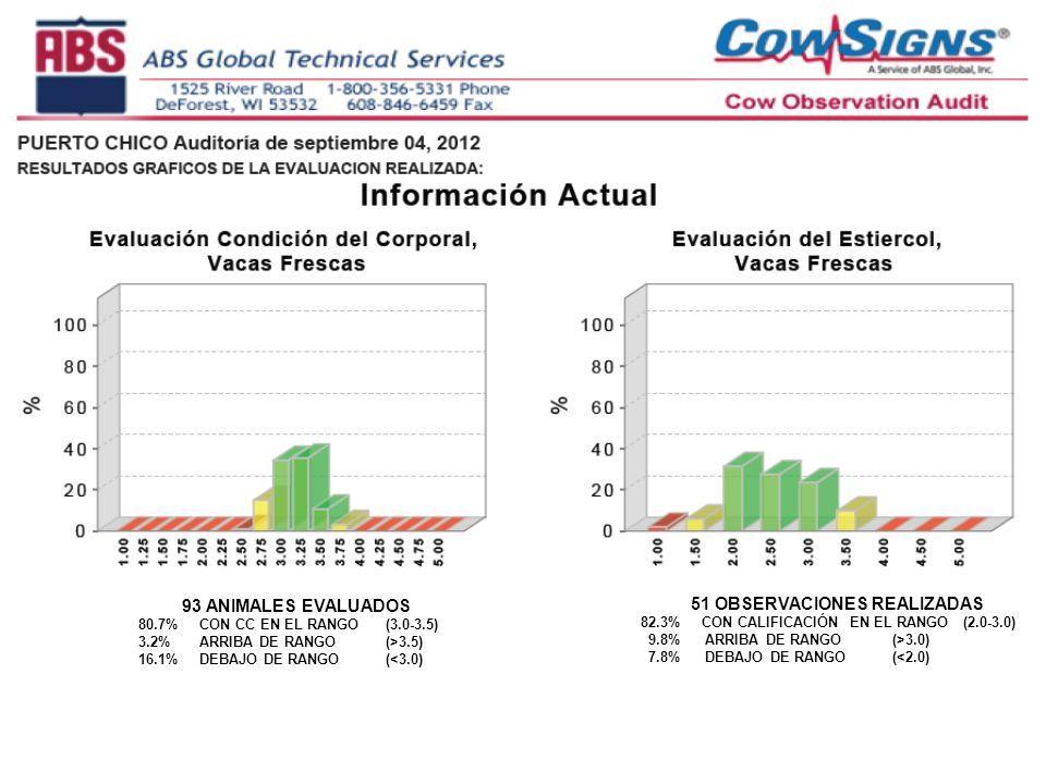 93 ANIMALES EVALUADOS 80.7% CON CC EN EL RANGO (3.0-3.5) 3.2% ARRIBA DE RANGO (>3.5) 16.1% DEBAJO DE RANGO (<3.0) 51 OBSERVACIONES REALIZADAS 82.3% CON CALIFICACIÓN EN EL RANGO (2.0-3.0) 9.8% ARRIBA DE RANGO (>3.0) 7.8% DEBAJO DE RANGO (<2.0)