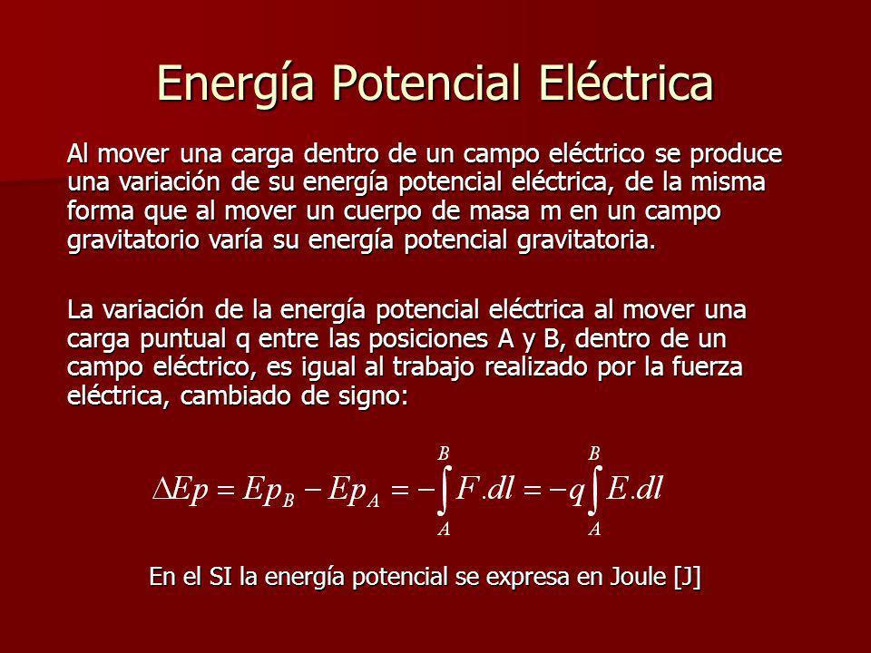 Energía Potencial Eléctrica Al mover una carga dentro de un campo eléctrico se produce una variación de su energía potencial eléctrica, de la misma fo