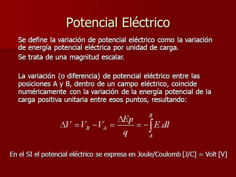 Potencial Eléctrico Se define la variación de potencial eléctrico como la variación de energía potencial eléctrica por unidad de carga. Se trata de un