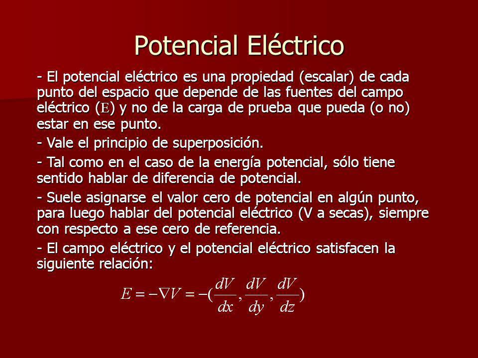 Potencial Eléctrico - El potencial eléctrico es una propiedad (escalar) de cada punto del espacio que depende de las fuentes del campo eléctrico ( E )