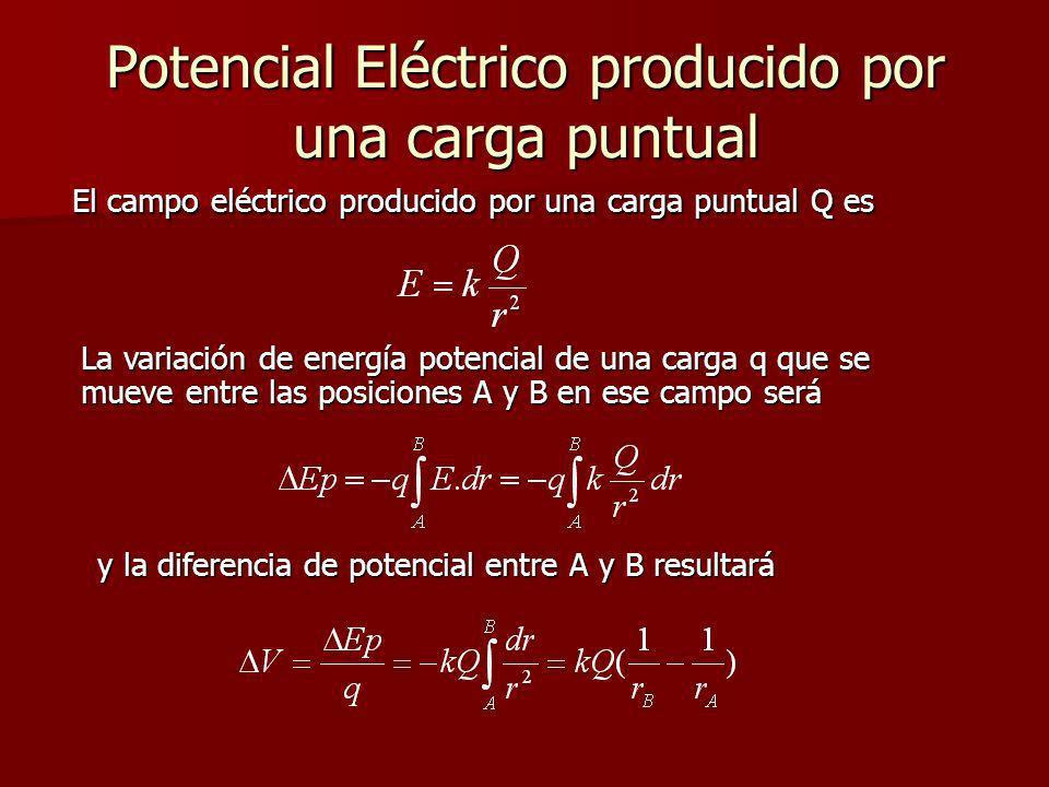 Potencial Eléctrico producido por una carga puntual El campo eléctrico producido por una carga puntual Q es La variación de energía potencial de una c