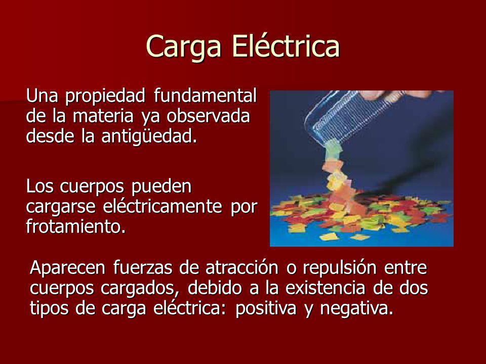 Carga Eléctrica Una propiedad fundamental de la materia ya observada desde la antigüedad. Los cuerpos pueden cargarse eléctricamente por frotamiento.