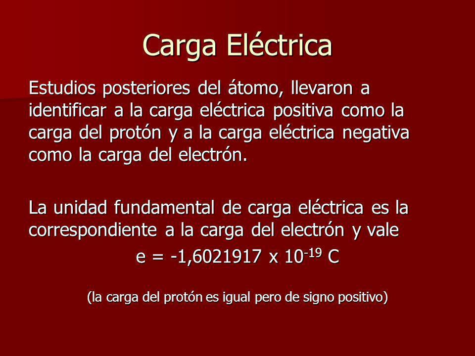 Carga Eléctrica Estudios posteriores del átomo, llevaron a identificar a la carga eléctrica positiva como la carga del protón y a la carga eléctrica n