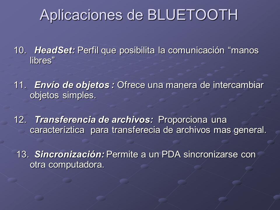 10. HeadSet: Perfil que posibilita la comunicación manos libres 11. Envío de objetos : Ofrece una manera de intercambiar objetos simples. 12. Transfer