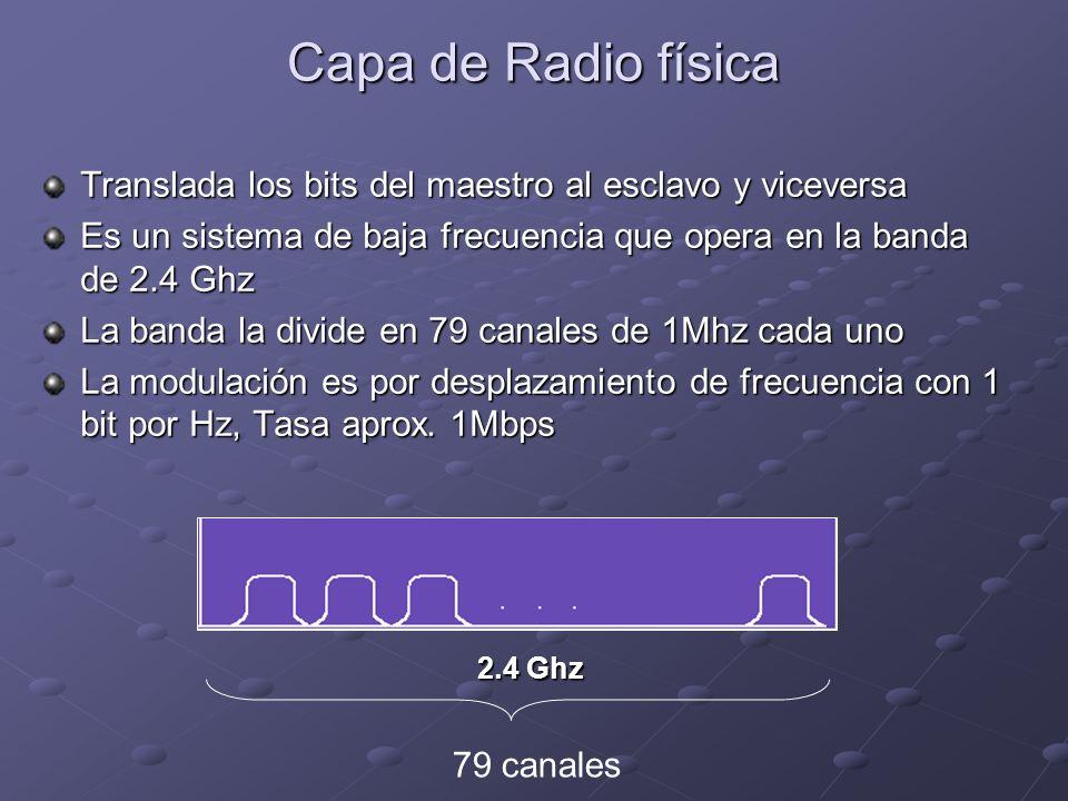 Capa de Radio física Translada los bits del maestro al esclavo y viceversa Es un sistema de baja frecuencia que opera en la banda de 2.4 Ghz La banda