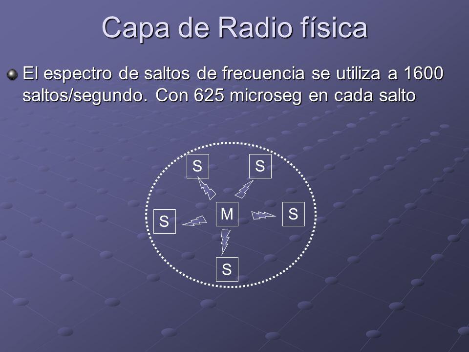 El espectro de saltos de frecuencia se utiliza a 1600 saltos/segundo. Con 625 microseg en cada salto SM SS S S Capa de Radio física