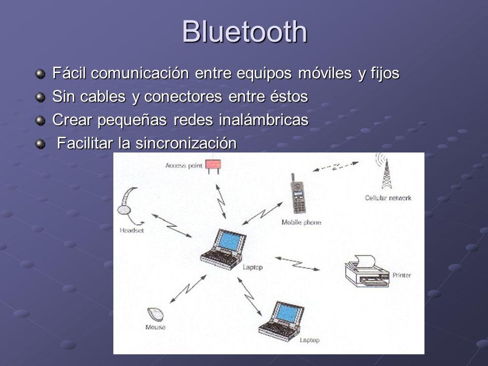 Bluetooth Fácil comunicación entre equipos móviles y fijos Sin cables y conectores entre éstos Crear pequeñas redes inalámbricas Facilitar la sincroni