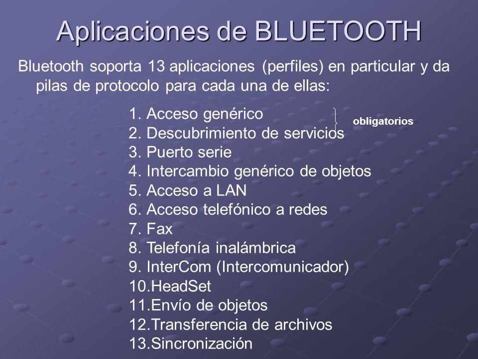 Aplicaciones de BLUETOOTH Bluetooth soporta 13 aplicaciones (perfiles) en particular y da pilas de protocolo para cada una de ellas: 1.Acceso genérico