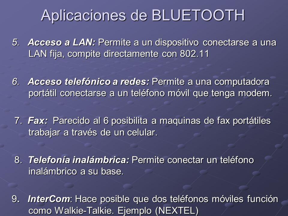 5. Acceso a LAN: Permite a un dispositivo conectarse a una LAN fija, compite directamente con 802.11 6. Acceso telefónico a redes: Permite a una compu