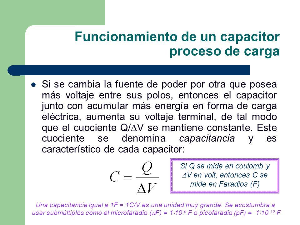 Funcionamiento de un capacitor proceso de carga Si se cambia la fuente de poder por otra que posea más voltaje entre sus polos, entonces el capacitor