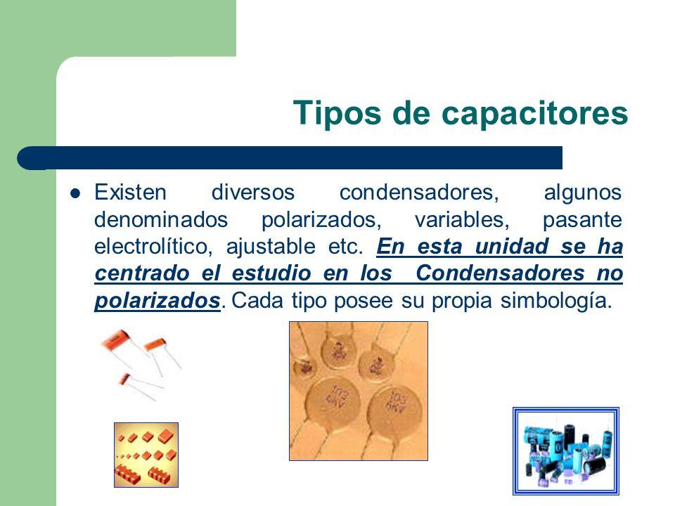 Tipos de capacitores Existen diversos condensadores, algunos denominados polarizados, variables, pasante electrolítico, ajustable etc. En esta unidad