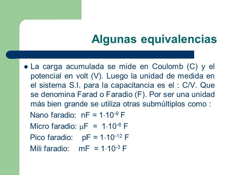 Algunas equivalencias La carga acumulada se mide en Coulomb (C) y el potencial en volt (V). Luego la unidad de medida en el sistema S.I. para la capac