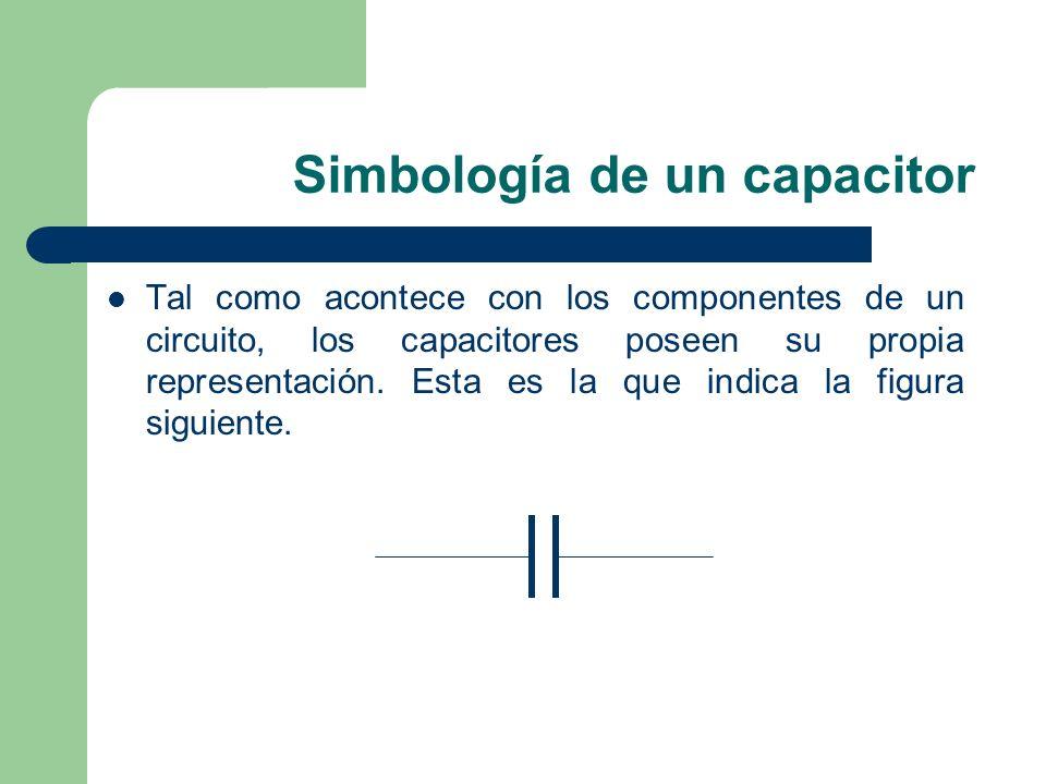 Simbología de un capacitor Tal como acontece con los componentes de un circuito, los capacitores poseen su propia representación. Esta es la que indic
