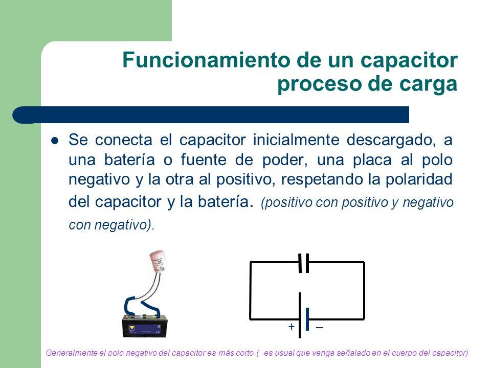 Funcionamiento de un capacitor proceso de carga Se conecta el capacitor inicialmente descargado, a una batería o fuente de poder, una placa al polo ne