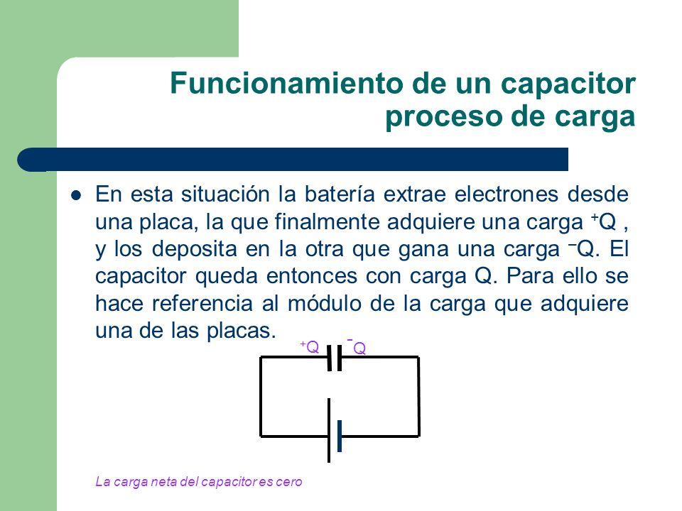 Funcionamiento de un capacitor proceso de carga En esta situación la batería extrae electrones desde una placa, la que finalmente adquiere una carga +