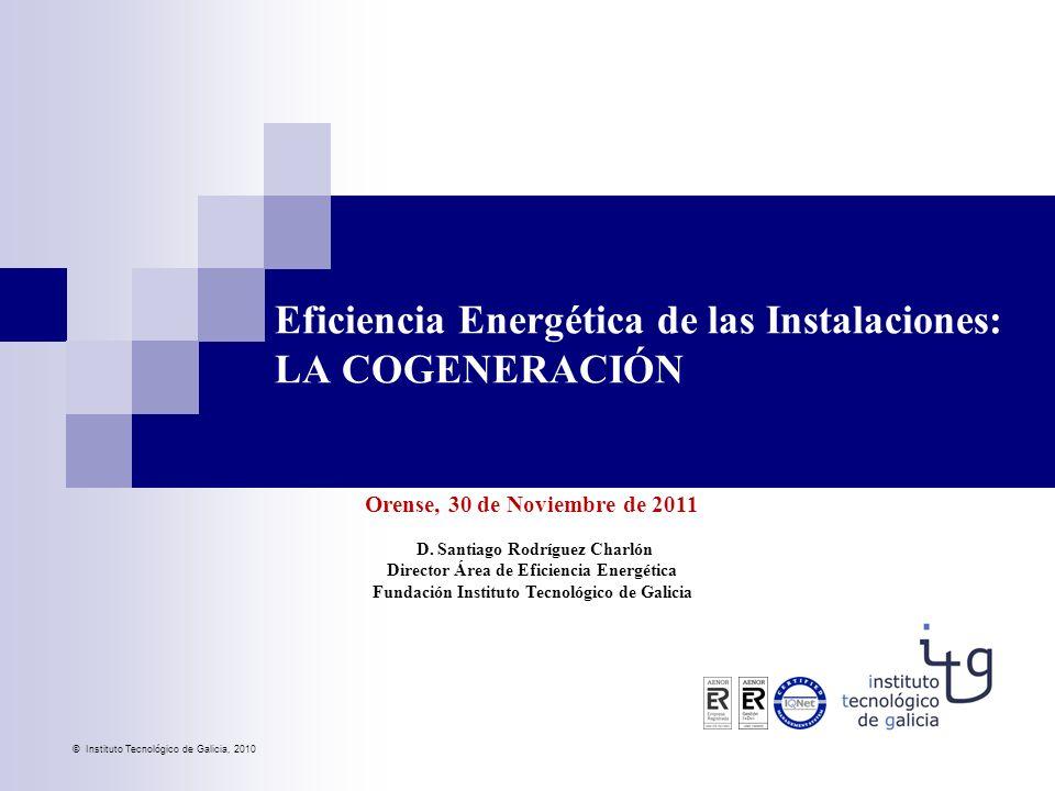 © Instituto Tecnológico de Galicia, 2010 Orense, 30 de Noviembre de 2011 D. Santiago Rodríguez Charlón Director Área de Eficiencia Energética Fundació