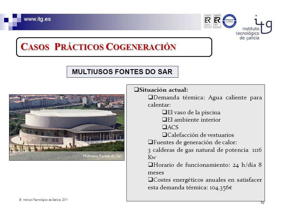 www.itg.es © Instituto Tecnológico de Galicia, 2011 10 C ASOS P RÁCTICOS C OGENERACIÓN Situación actual: Demanda térmica: Agua caliente para calentar: