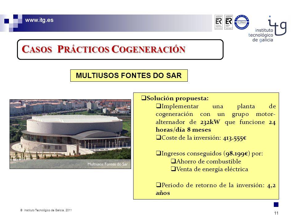 www.itg.es © Instituto Tecnológico de Galicia, 2011 11 C ASOS P RÁCTICOS C OGENERACIÓN Solución propuesta: Implementar una planta de cogeneración con