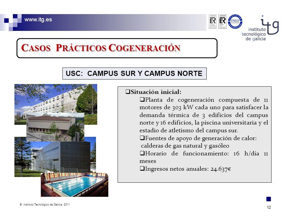 www.itg.es © Instituto Tecnológico de Galicia, 2011 12 C ASOS P RÁCTICOS C OGENERACIÓN Situación inicial: Planta de cogeneración compuesta de 11 motor