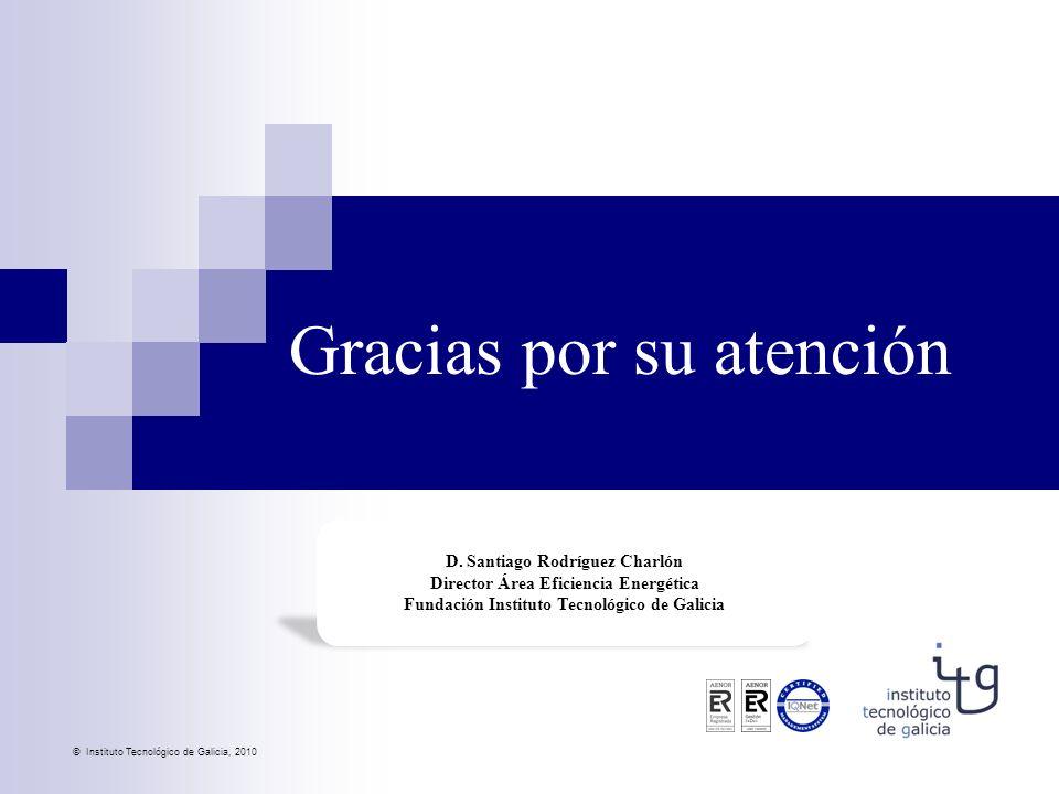 © Instituto Tecnológico de Galicia, 2010 D. Santiago Rodríguez Charlón Director Área Eficiencia Energética Fundación Instituto Tecnológico de Galicia