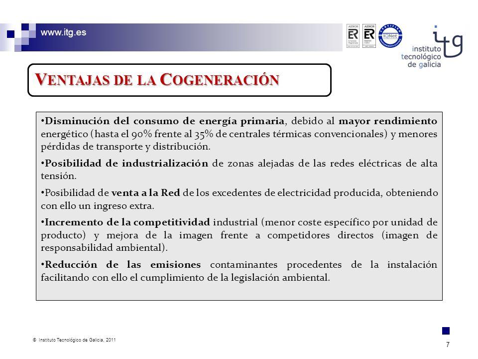www.itg.es © Instituto Tecnológico de Galicia, 2011 7 V ENTAJAS DE LA C OGENERACIÓN Disminución del consumo de energía primaria, debido al mayor rendi