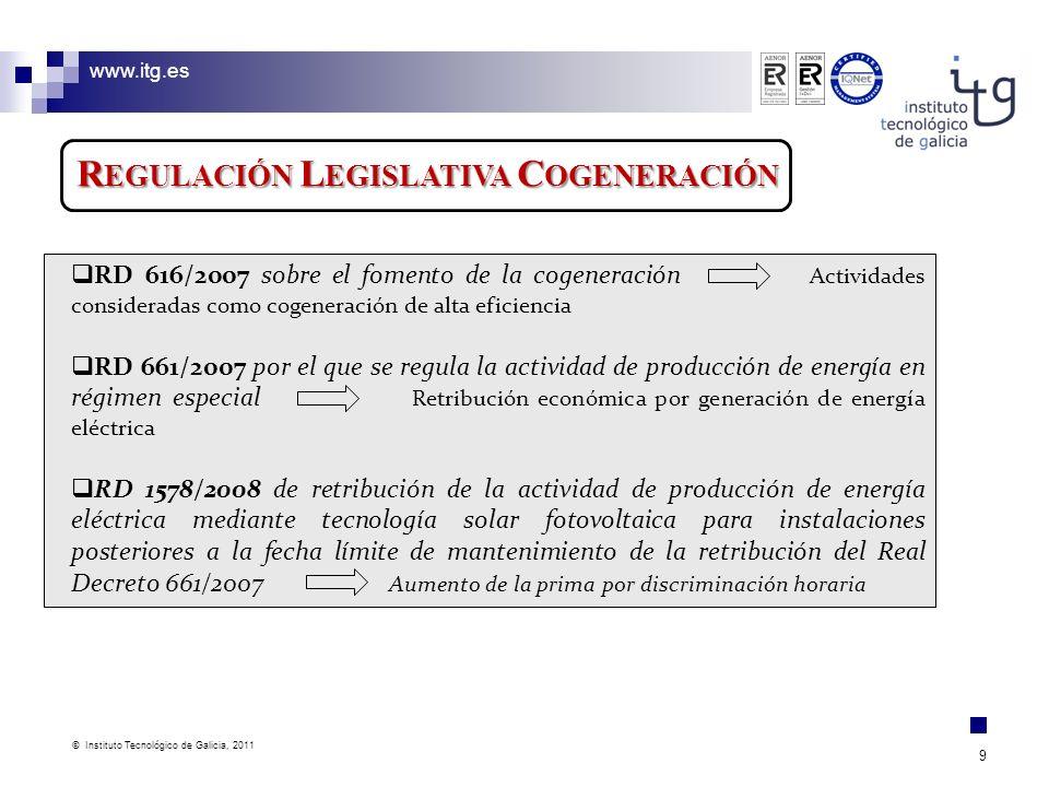 www.itg.es © Instituto Tecnológico de Galicia, 2011 9 R EGULACIÓN L EGISLATIVA C OGENERACIÓN RD 616/2007 sobre el fomento de la cogeneración Actividad