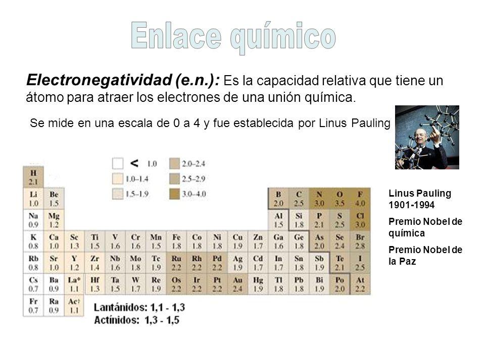Electronegatividad (e.n.): Es la capacidad relativa que tiene un átomo para atraer los electrones de una unión química. Se mide en una escala de 0 a 4