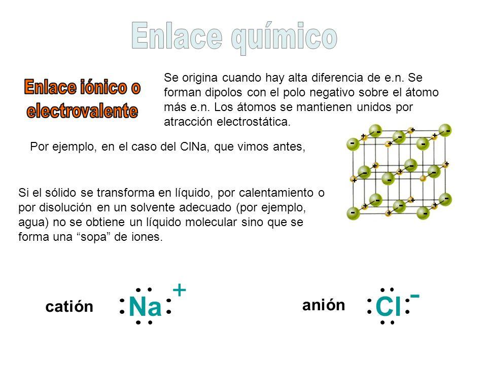 Se origina cuando hay alta diferencia de e.n. Se forman dipolos con el polo negativo sobre el átomo más e.n. Los átomos se mantienen unidos por atracc