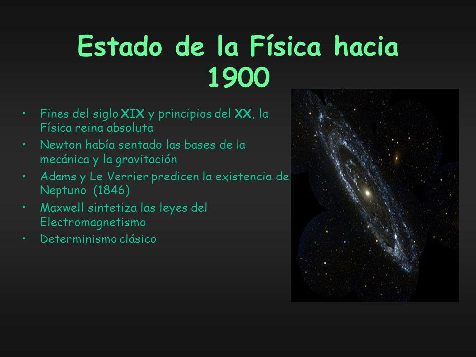 Estado de la Física hacia 1900 Fines del siglo XIX y principios del XX, la Física reina absoluta Newton había sentado las bases de la mecánica y la gravitación Adams y Le Verrier predicen la existencia de Neptuno (1846) Maxwell sintetiza las leyes del Electromagnetismo Determinismo clásico