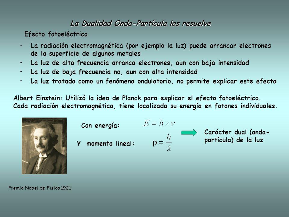 La radiación electromagnética (por ejemplo la luz) puede arrancar electrones de la superficie de algunos metales La luz de alta frecuencia arranca electrones, aun con baja intensidad La luz de baja frecuencia no, aun con alta intensidad La luz tratada como un fenómeno ondulatorio, no permite explicar este efecto La Dualidad Onda-Partícula los resuelve Albert Einstein: Utilizó la idea de Planck para explicar el efecto fotoeléctrico.